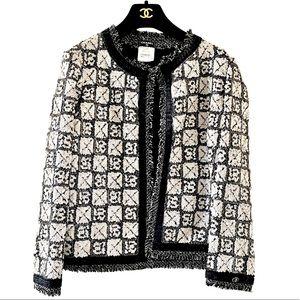 100AUTH CHANEL Karl Sequin Black Jacket 44/8 RARE